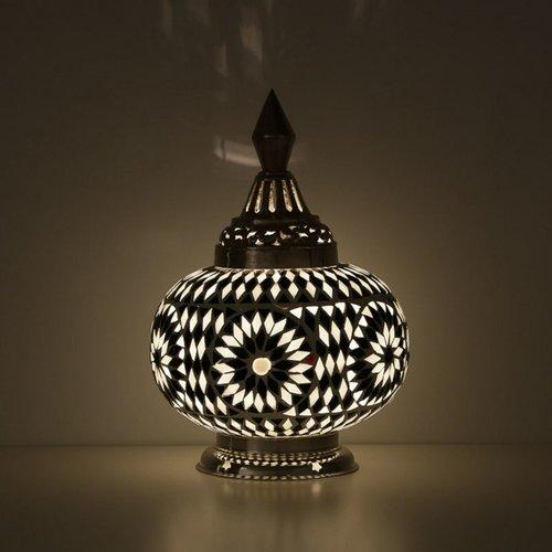 Tafellamp pompoen zwart/wit mozaiek