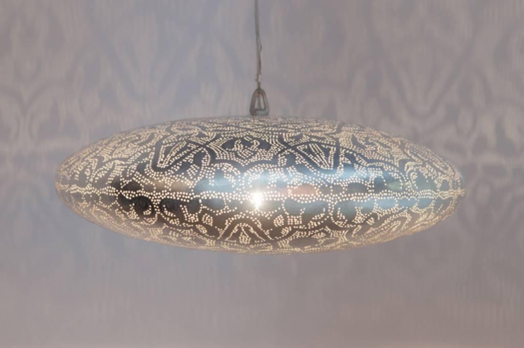 filigrain hanglamp in mat zilver kleur de pauw wonen