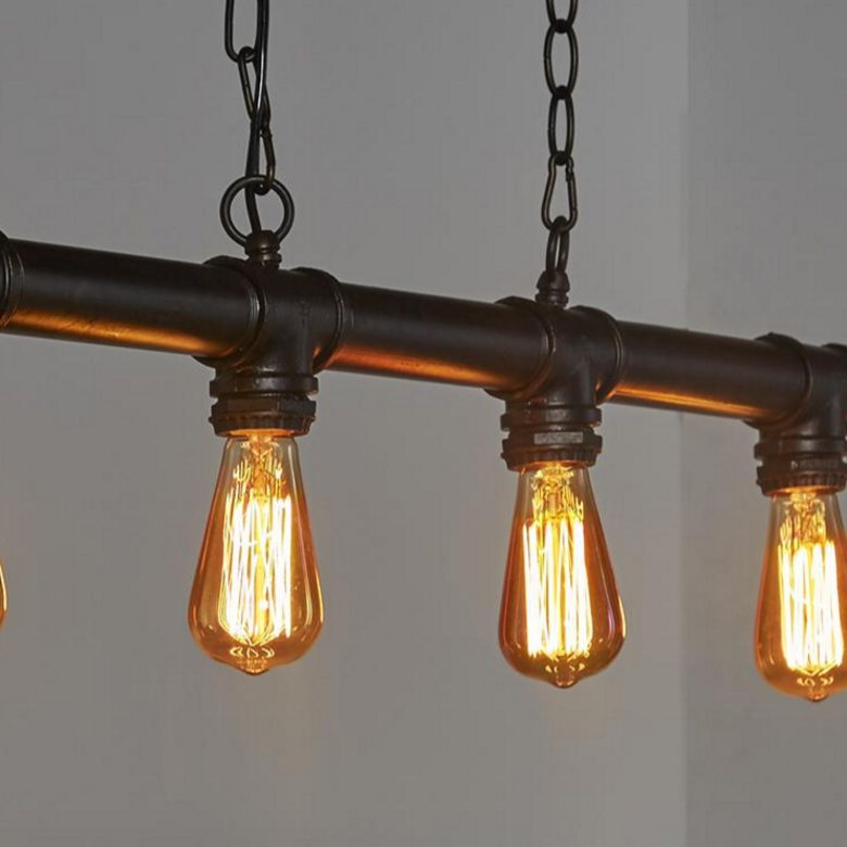 Eettafel hanglamp gemaakt van waterleiding buizen de for Vintage lampen