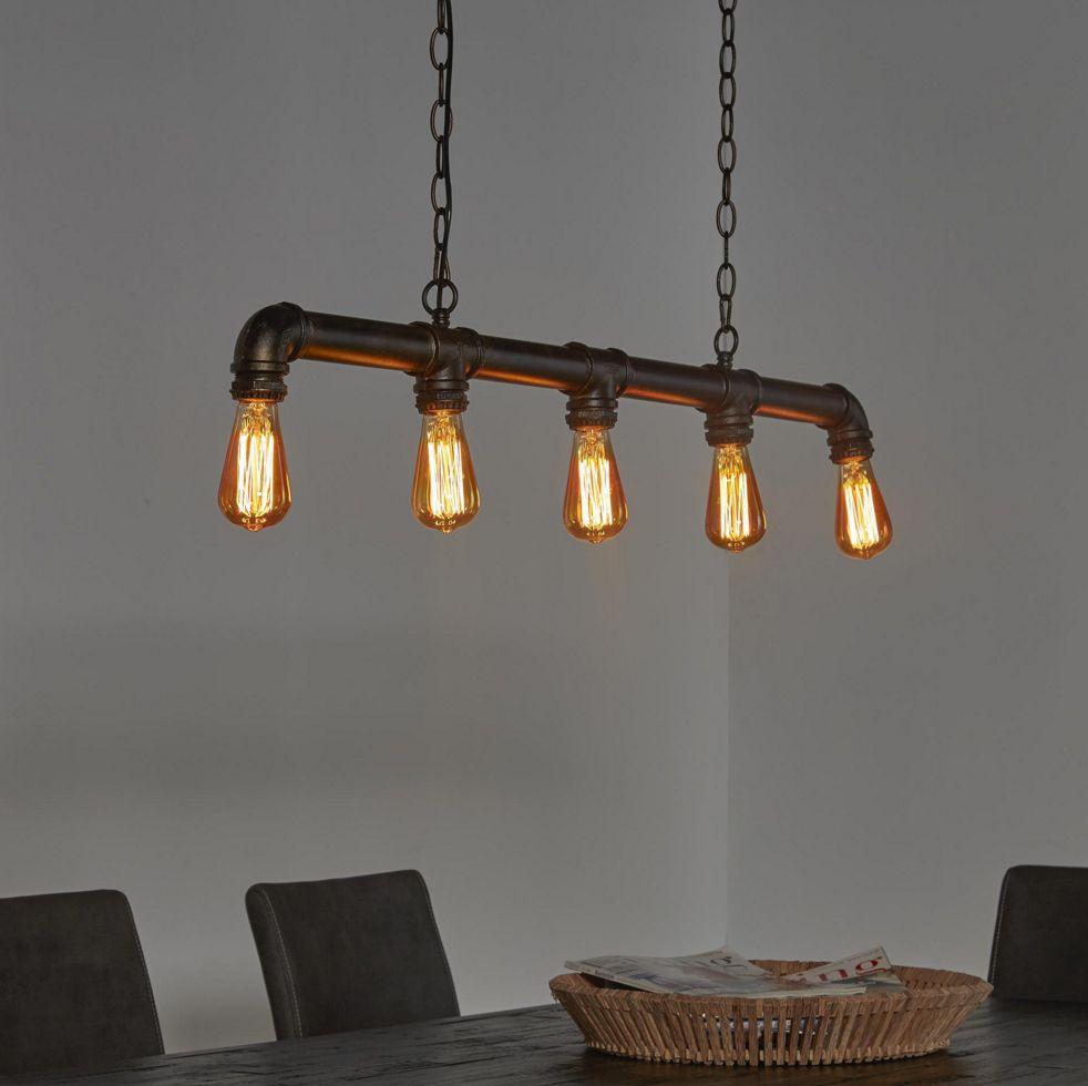 Eettafel hanglamp gemaakt van waterleiding buizen de for Lamp industrieel