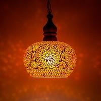Hanglamp open rood/oranje mozaiek met teakhout