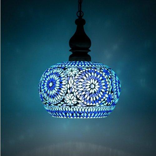 Hanglamp open blauw mozaiek