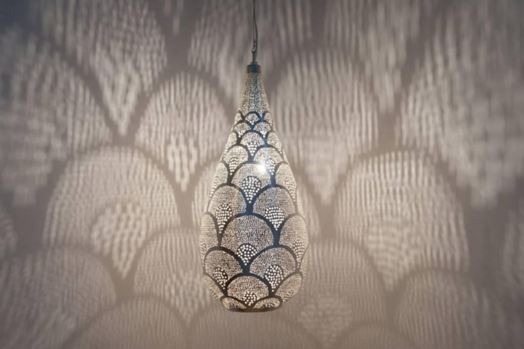 egyptische filigrain hanglamp in mat zilver de pauw wonen