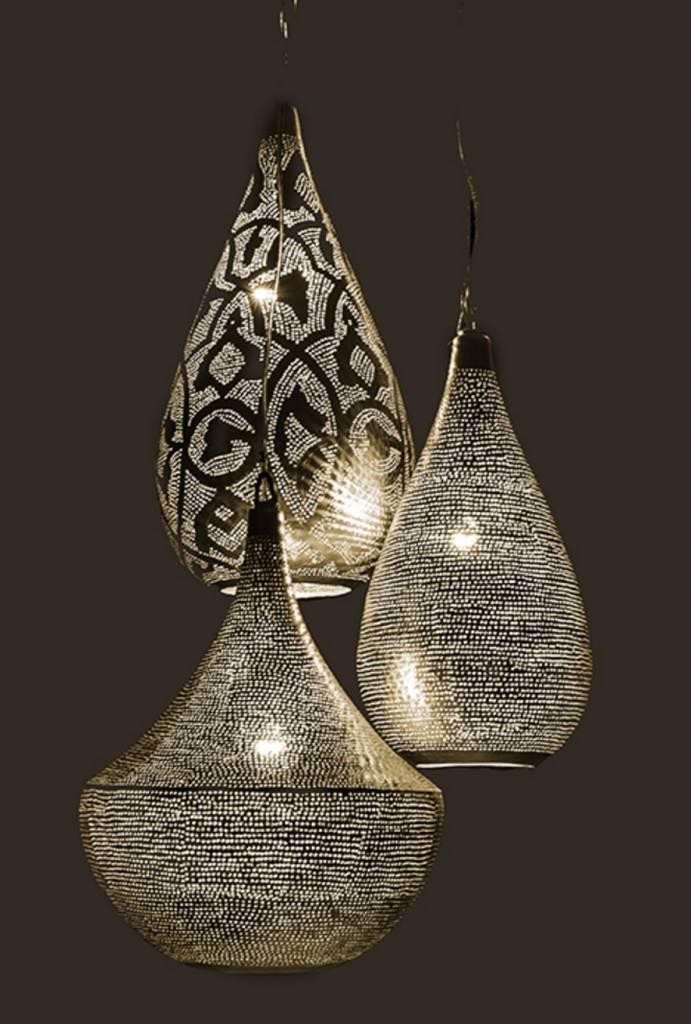 egyptische filigrain hanglamp zilver de pauw wonen