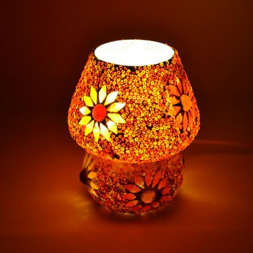 Tafellamp pad rood/oranje mozaiek