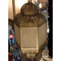 Marokkaanse lamp mat wit glas