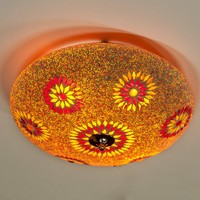 Plafondlamp rood/oranje mozaiek
