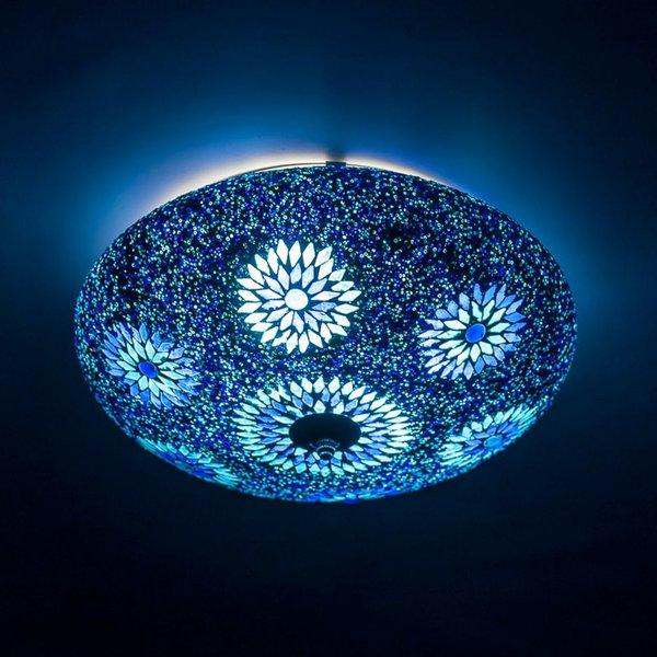 Plafondlamp blauw mozaiek