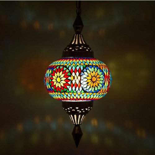 Hanglamp pompoen gekleurd mozaiek