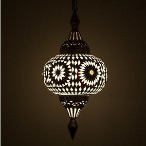Hanglamp pompoen zwart/wit mozaiek