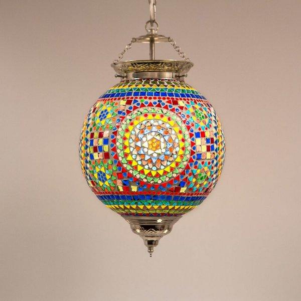 Hanglamp bol 25cm gekleurd mozaiek