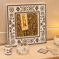 Spiegel zwart/wit mozaiek