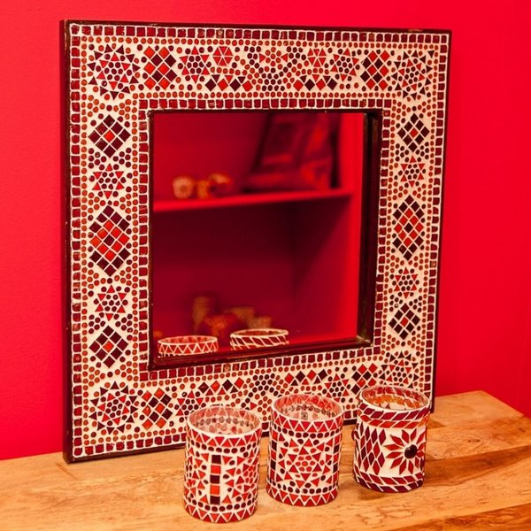 Spiegel rood/oranje mozaïek