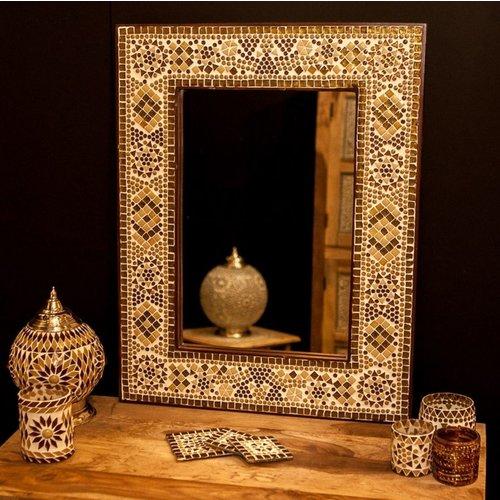 Spiegel bruin/beige mozaïek