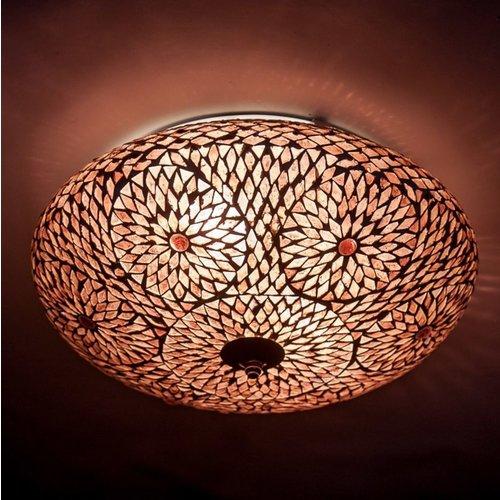 Plafondlamp paars/roze mozaiek