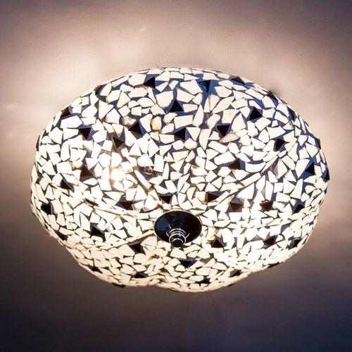 Plafondlamp zwart/wit mozaïek in 2 diameters