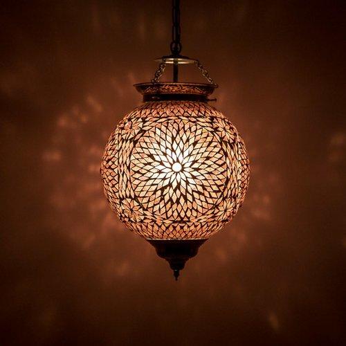Hanglamp bol 25cm paars/roze mozaïek