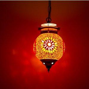 Hanglamp bol 15cm rood/oranje mozaïek