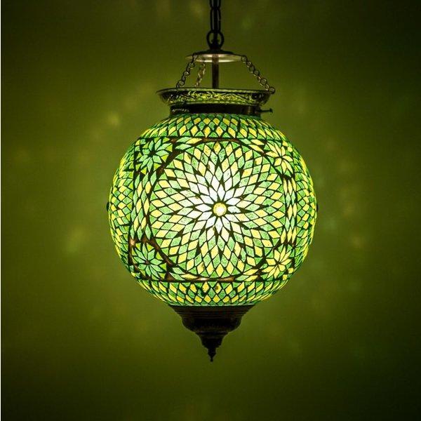 Hanglamp bol 25cm groen mozaïek