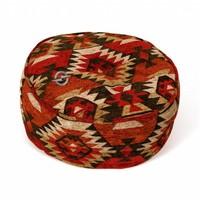 Ronde poef 25cm Kelim-rood/Bruin/Multi-kleur