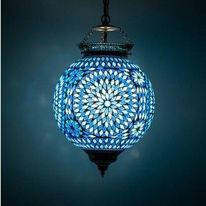 Hanglamp bol 25cm blauw mozaïek