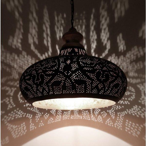 Filigrain hanglamp hout zwart/zilver
