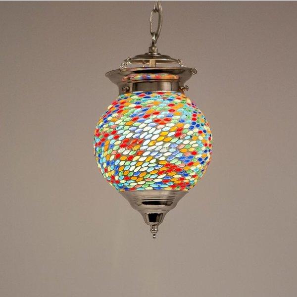 Hanglamp bol 15cm gekleurd mozaïek