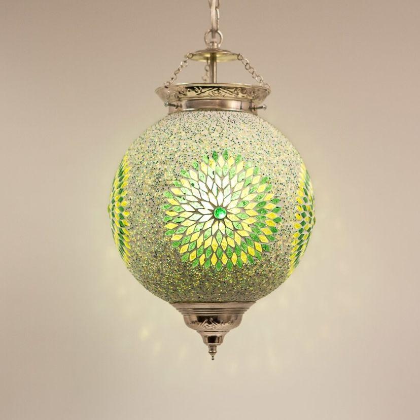 hanglamp bol 25cm groen mozaà ek de pauw wonen