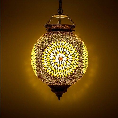 Hanglamp bol 25cm bruin/beige mozaïek