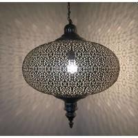 Grote filigrain hanglamp Antiek Zilver kleur