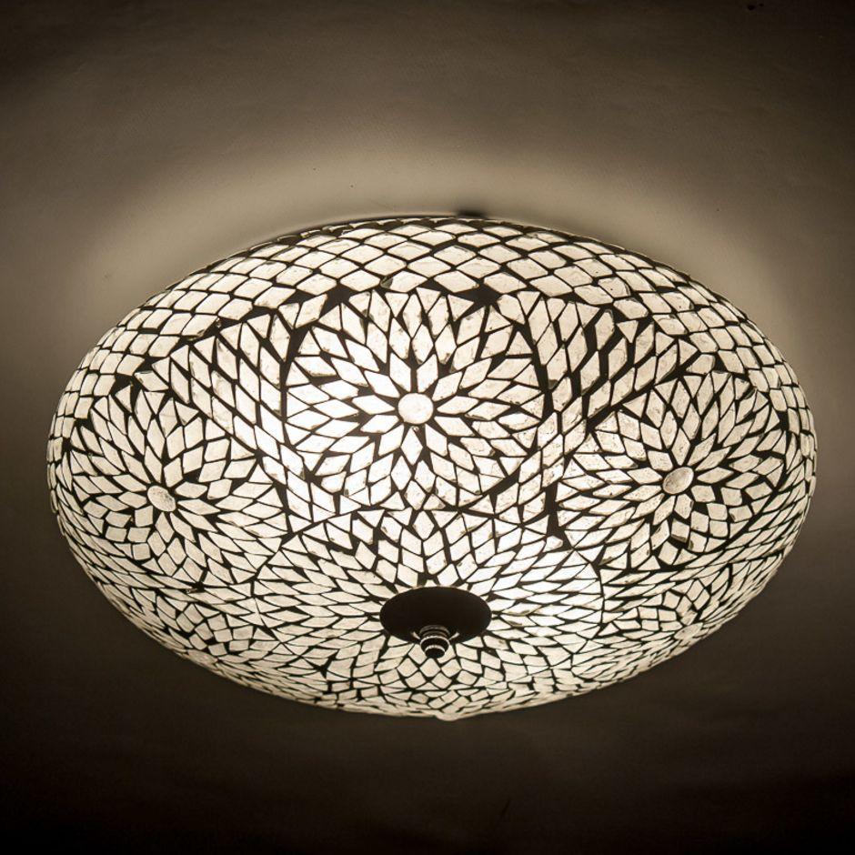 Oosterse moza ek plafondlamp in transparant bloem motief for Plafondverlichting