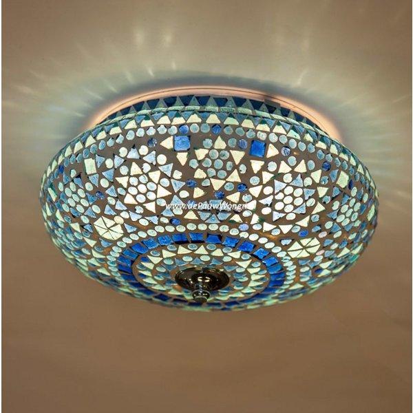 Plafondlamp 25cm blauw mozaiek