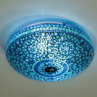 Plafondlamp 38cm blauw mozaiek