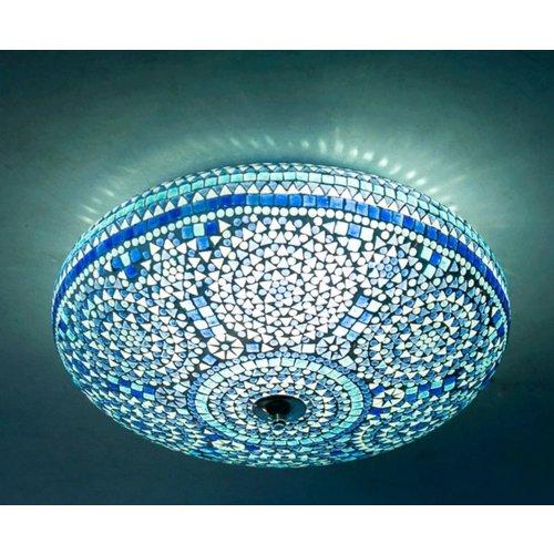 Plafondlamp 50cm blauw mozaiek