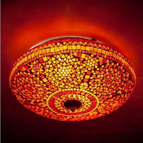 Plafondlamp 50cm rood/oranje mozaiek