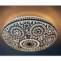 Plafondlamp 50cm zwart/wit mozaiek