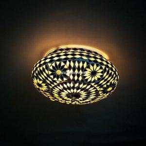 Plafondlamp 25cm zwart/wit mozaiek