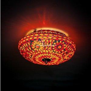 Plafondlamp 25cm rood/oranje mozaiek
