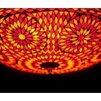 Plafondlamp 38cm rood/oranje mozaiek