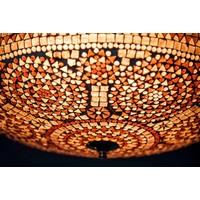 Plafondlamp 50cm paars/bruin mozaiek