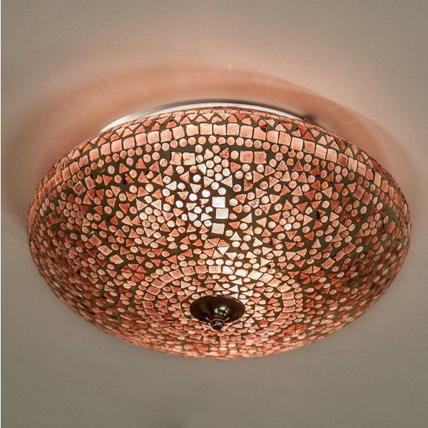 Plafondlamp 38cm paars/bruin mozaiek