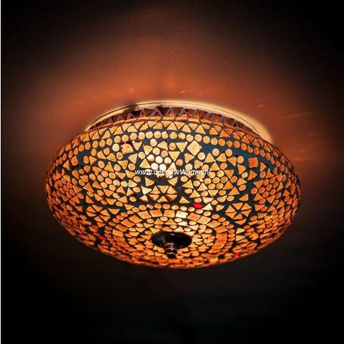 Plafondlamp 25cm paars/bruin mozaiek