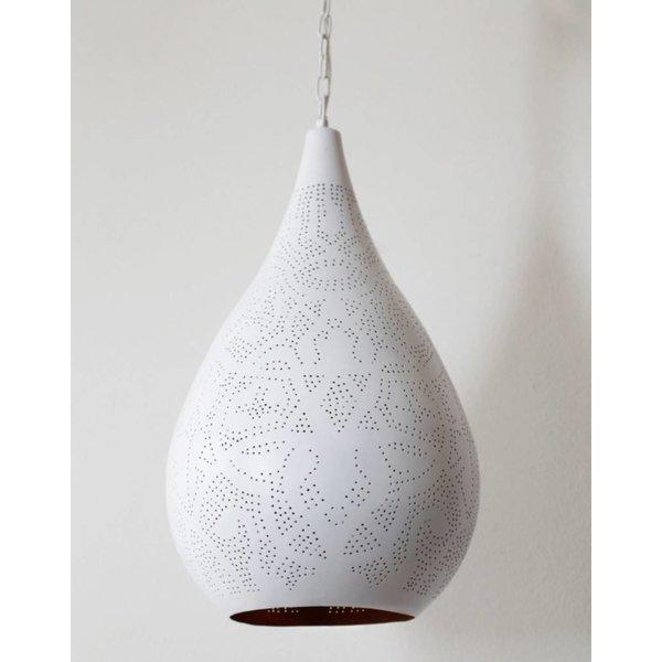 Filigrain hanglamp wit/goud