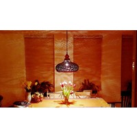 Filigrain hanglamp hout in roest bruin