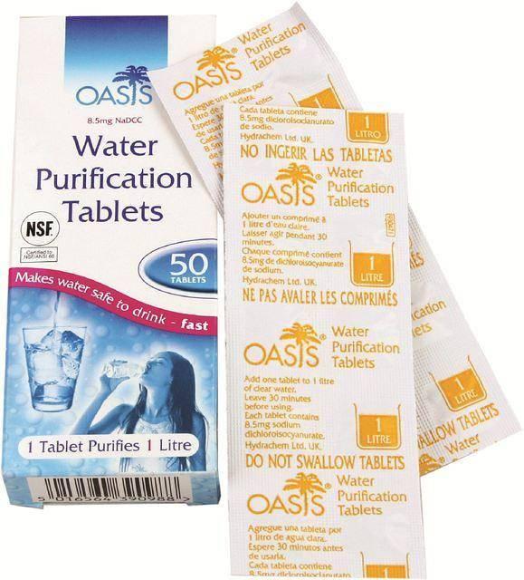 waterzuivering tabletten - 50 x 1 liter