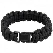 Paracord armband met fluitje - Zwart