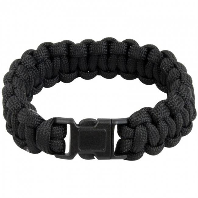 Highlander Paracord armband - incl. noodfluit - Zwart