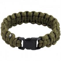 Paracord armband met fluitje - Olive
