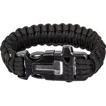 Paracord armband met fire starter - Zwart