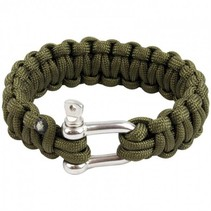 Paracord armband met D-ring - Olive